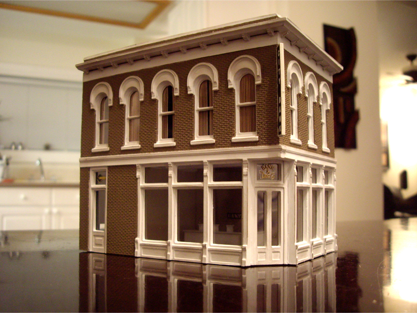 Completed DPM The Other Corner Café kit modeled as a bank