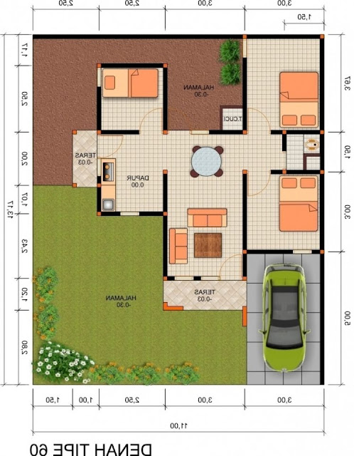 drawing of house layout Leter l room 3
