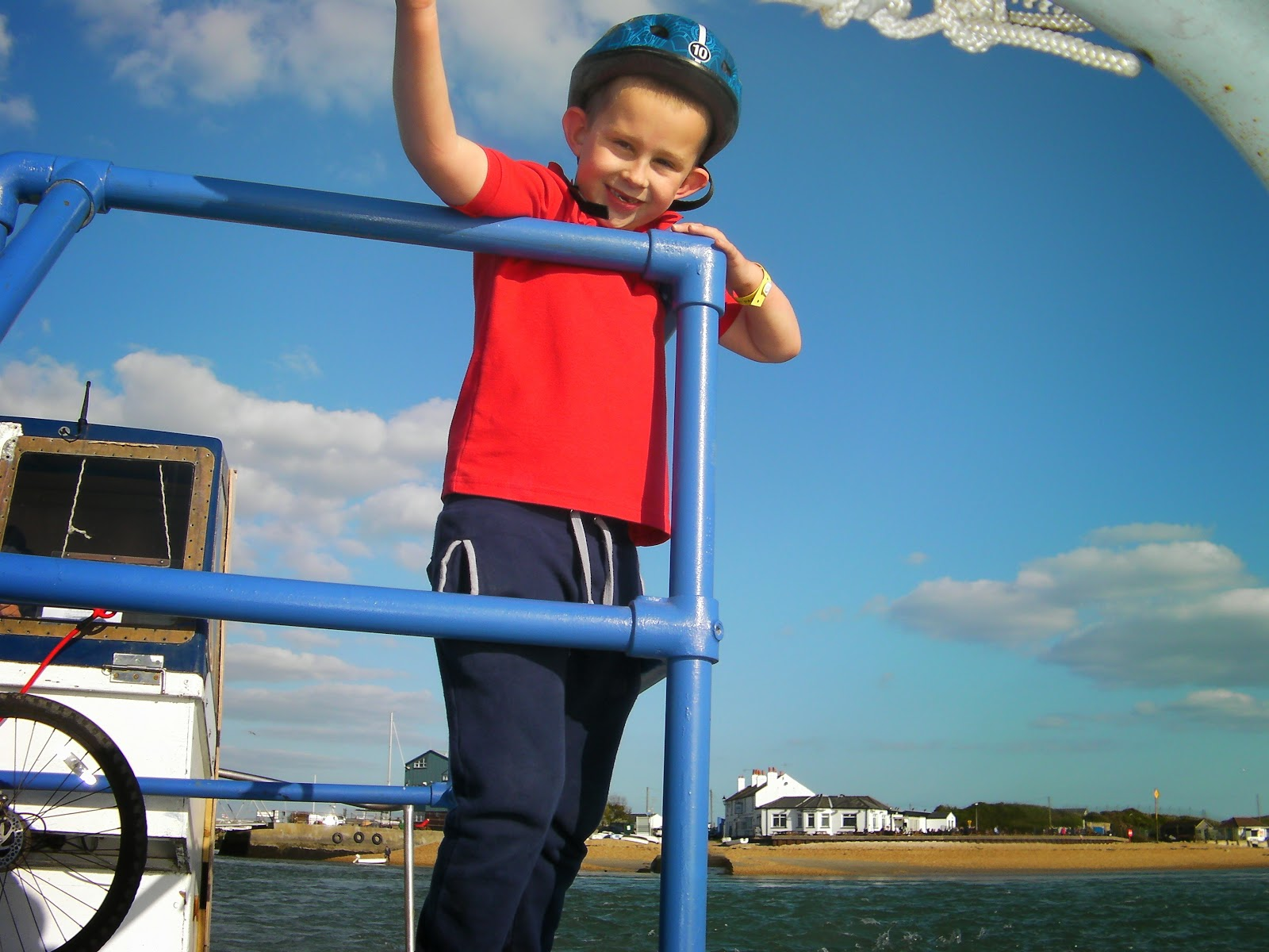 boy on hayling ferry with cycle helmet