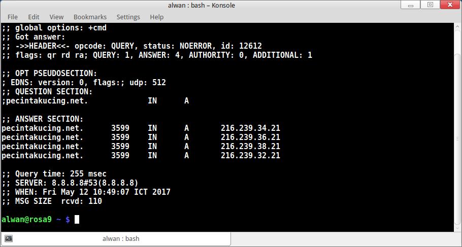 NAMAKU TUX : Linux Desktop, Everyday    : Linux Command dig