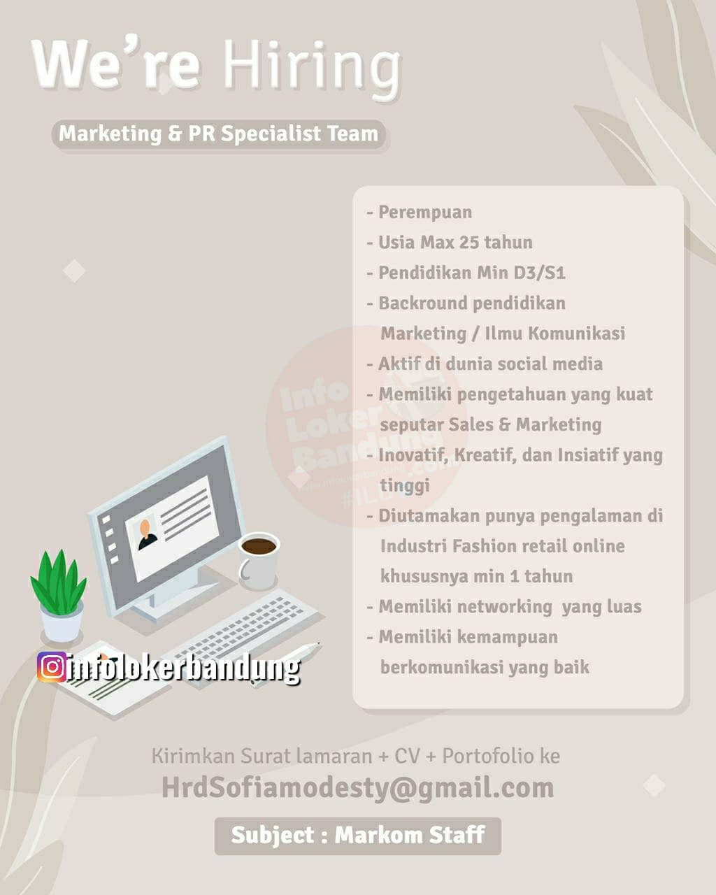 Lowongan Kerja Marketing & PR Specialist Team CV Sofia Modesty Bandung Juni 2021