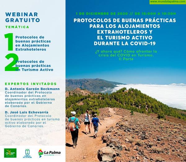 ADER La Palma organiza un seminario web sobre los protocolos de buenas prácticas para los alojamientos extrahoteleros y el turismo activo durante la COVID-19