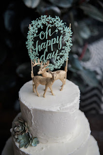 laser cut and deer figurines wedding cake toppers