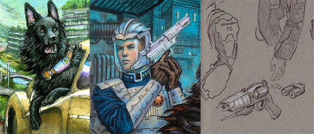 """An early study for the Citron Flash, a detail of Shiv's helmet and EStee from """"What's Bred in the Bone,"""" and Jeff Porter's EStee prototype design."""