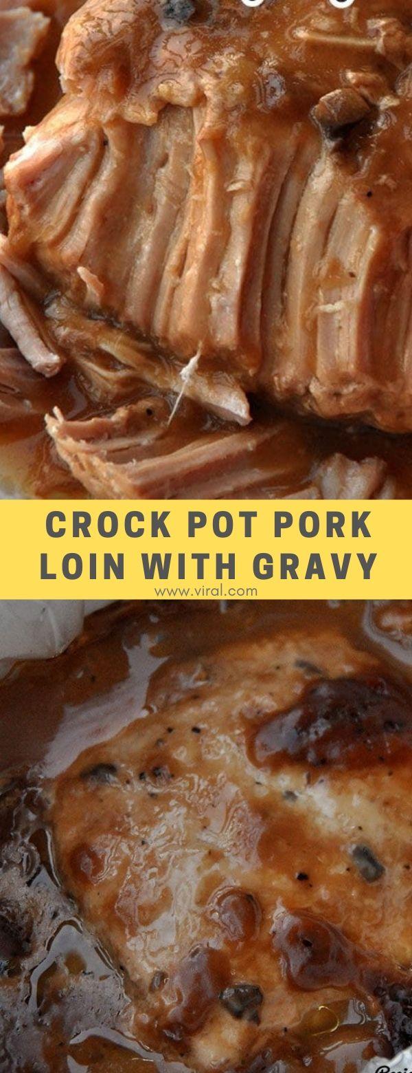 Crock Pot Pork Loin with Gravy #dinner #maincourse #crockpot #pork #gravy