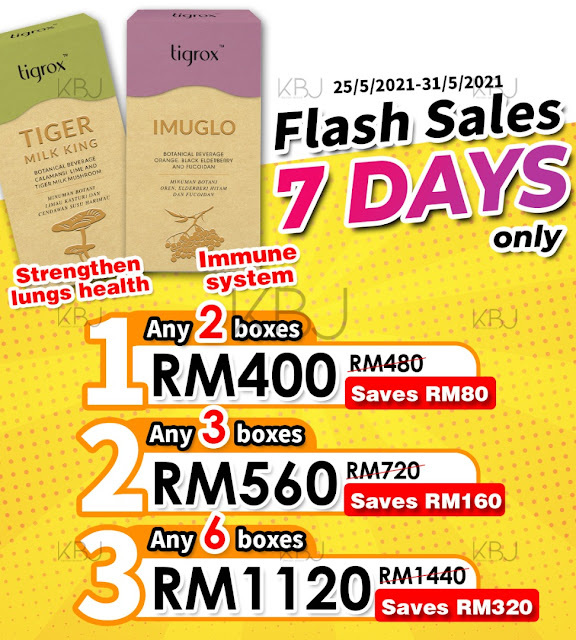 Tigrox TIGER MILK KING and Tigrox IMUGLO Flash Sales Promotion starts from 25 May 2021 to 31 May 2021 only.