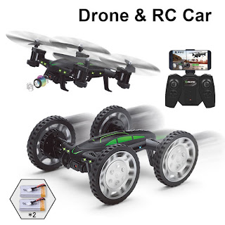 Drone Con Cámara 2MP FPV Air-Ground RC Quadcopter Por Tierra & Aire Doble Modo Drone Coche Teledirigido