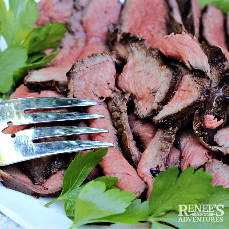 Killer London Broil by Renee's Kitchen Adventures sliced and ready to eat