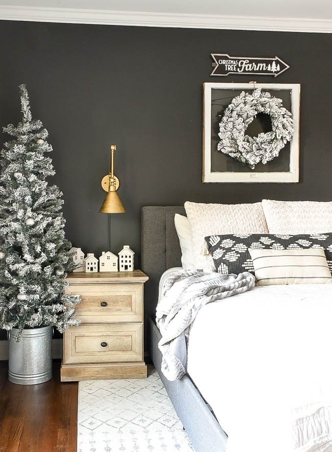 Neutral rustic luxe Christmas bedroom