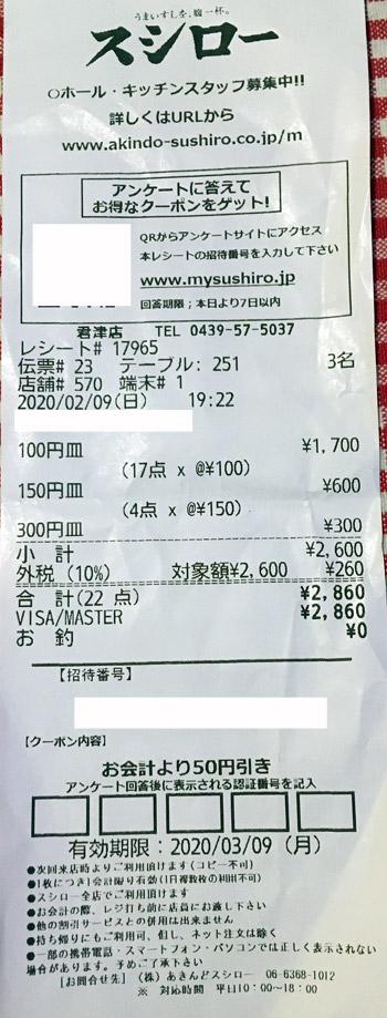 スシロー 君津店 2020/2/9 飲食のレシート