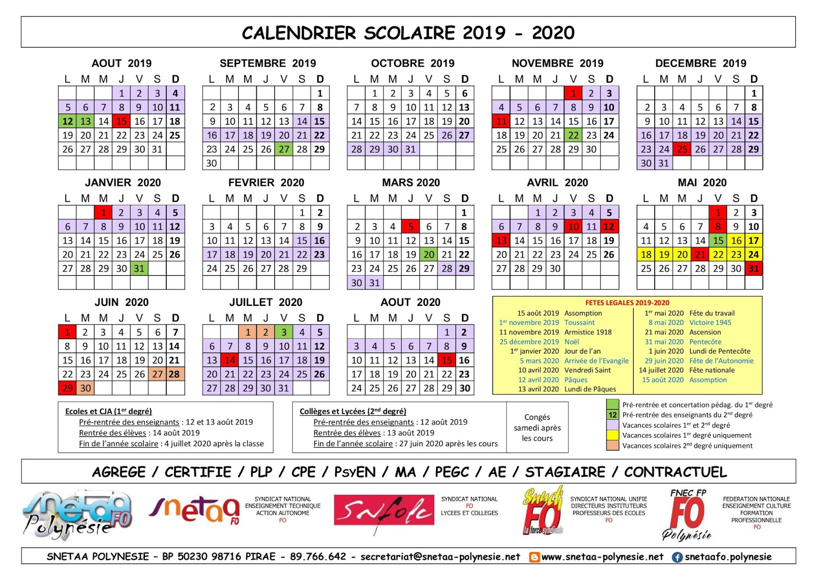 Calendrier Annee Scolaire 201918.Calendrier Education Nationale 2020