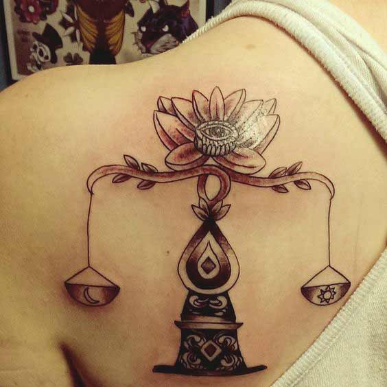 best libra tattoos with lotus flower