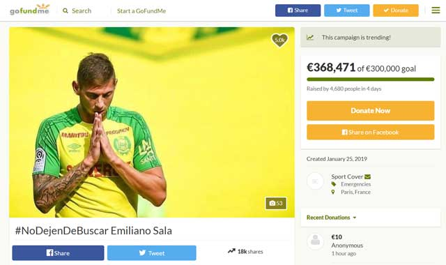 Gofundme page for Emiliano Sala