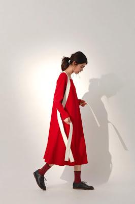 月光之城有機棉綁帶長洋裝-紅日