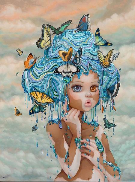 "Camilla d'Errico, ""Miss Duplexity"" - oil on wood panel | obras de arte pop contemporaneo, pinturas, surrealismo pop, art pictures inspiration | art selecta"