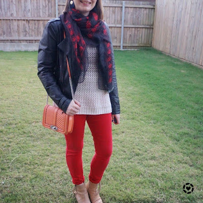 awayfromblue Instagram | ombre knit for night out with red skinny jeans leather jacket skull scarf love bag