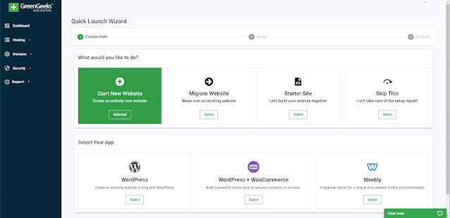 start creating a new website from greengeeks dashboard