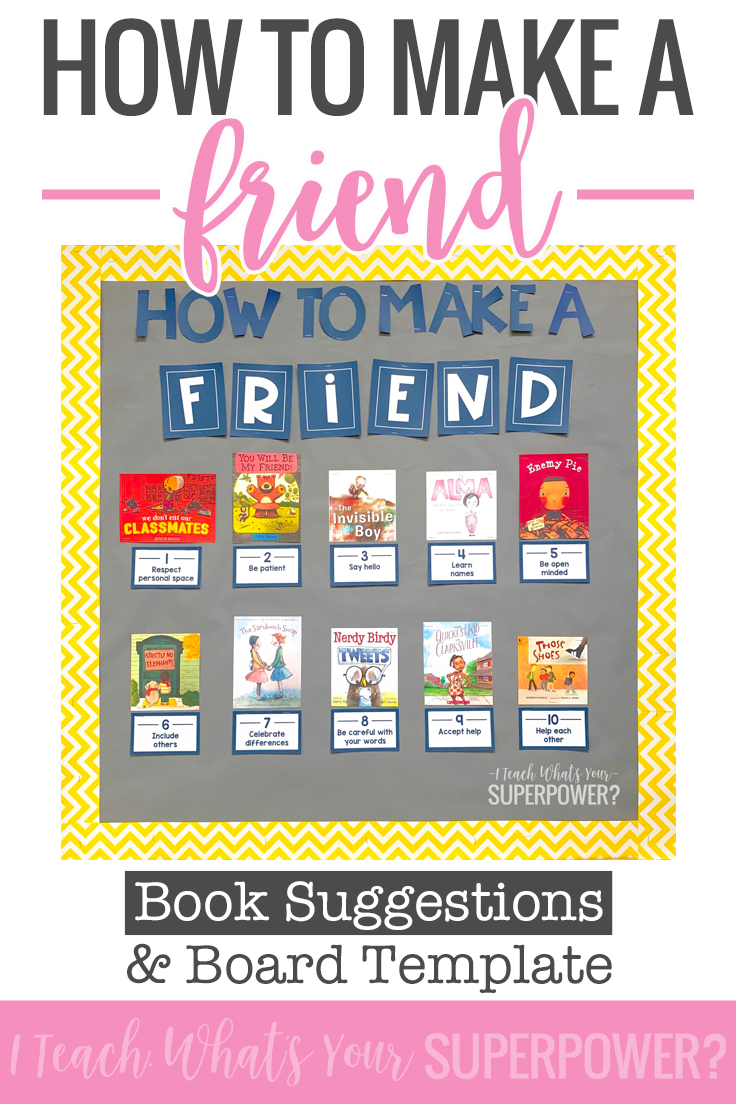 This friendship board is a perfect way to start the year and connect #classroombookaday to social emotional learning.  Download the free bulletin board template to connect picture books with traits of a good friend.