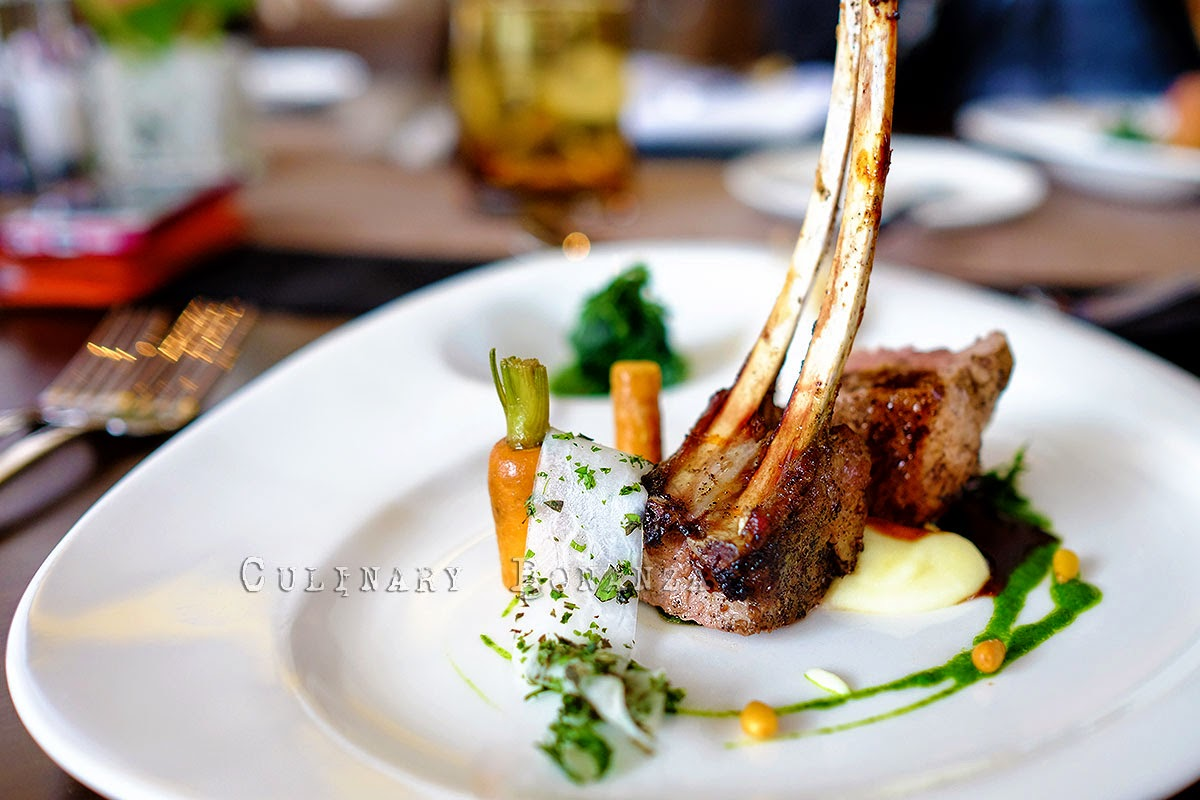 Coffee Flavoured Rack of Lamb with garden roots, caraway & spinach