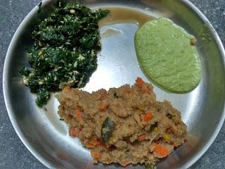 Samba Wheat sooji (Home made) uppuma with carrot,  Ponnaanganni greens poriyal,  Curry leaves coconut chutney