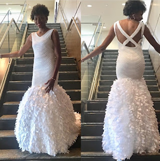 All White Gala dress front and back