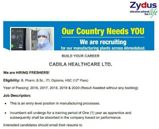 Cadila Healthcare Ltd Recruitment For ITI, Diploma, 12th Pas, BSC, B. Pharm Freshers Candidates For Entry Level Position