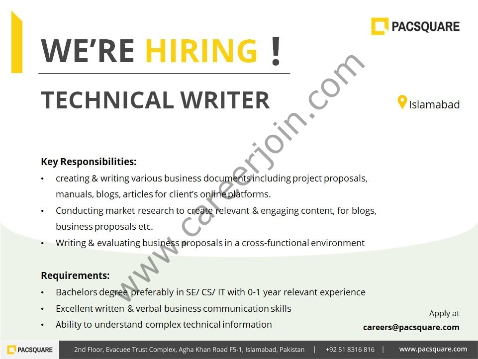 careers@pacsquare.com - Pacsquare Technologies Jobs 2021 in Pakistan