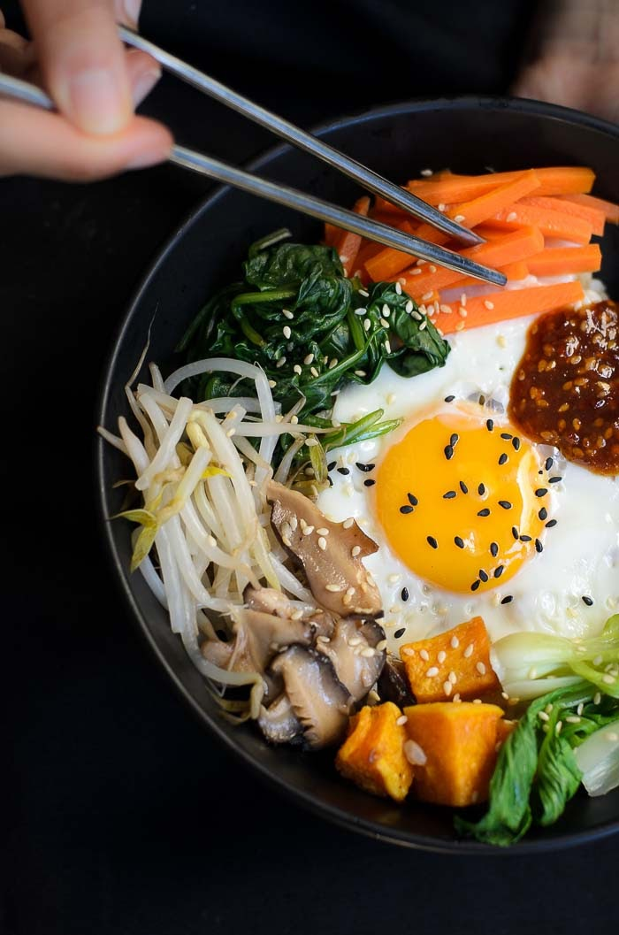 Korean bibimbap in a bowl