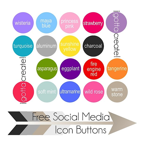 Get your free Social Media Icon Buttons in these colors compliments of I Gotta Create!
