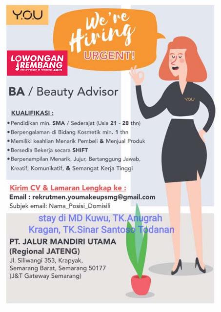 Lowongan Kerja Beauty Advisor Y.O.U Kosmetik Semarang Rembang