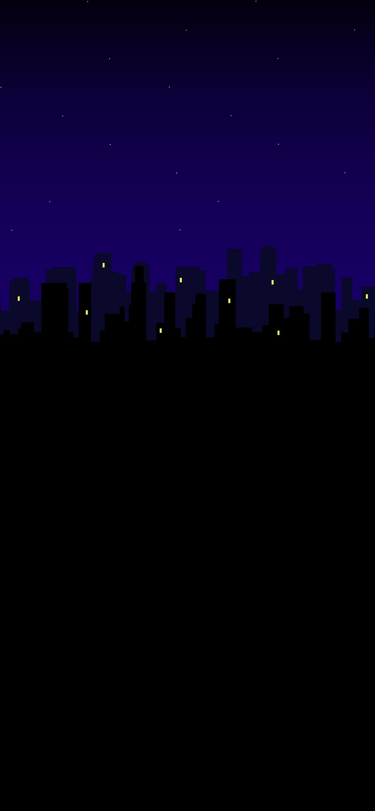 black amoled wallpaper city silhouette in 4k