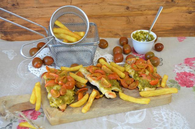 pesto recetas, pollo con queso pesto y tomate cherry, pollo recetas, recetas con pesto, recetas de pollo, recetas saludables, las delicias de Mayte,