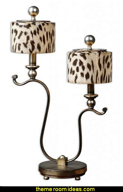 Contemporary Two Arm Leopard Table Lamp