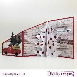 Stamp/Die Duos: Loads of Love, Custom Dies: Pickup Truck, Christmas Tree, Z Fold with Layers, Trees & Deer, Curvy Slopes, Sentiment Strips, Paper Collection: Rustic Christmas