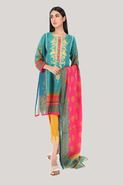 Khaadi Blue color Printed kurta and dupatta