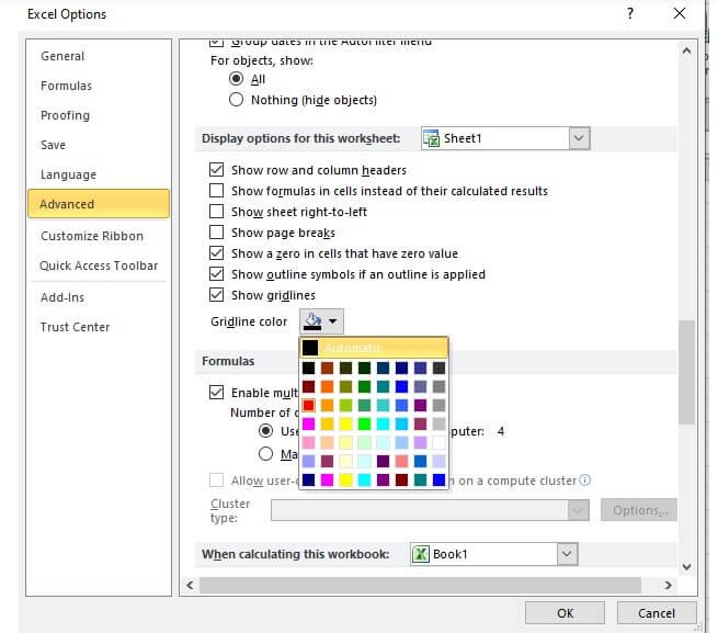cara merubah warna gridlines pada excel