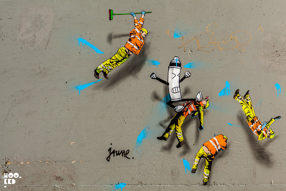 Street Artist OakOak and Jaunes' collaborative stencils in Ostend, Belgium.
