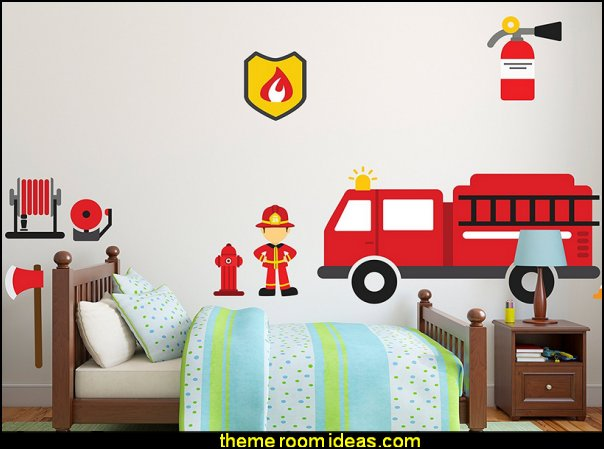 Firetruck & Fireman Theme DIY - Mural Room Wall Decals