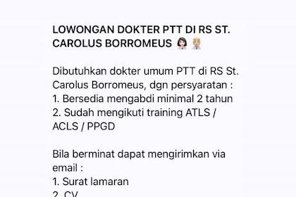 Lowongan Kerja Dokter PTT di Rumah Sakit ST. Carolus Borromeus