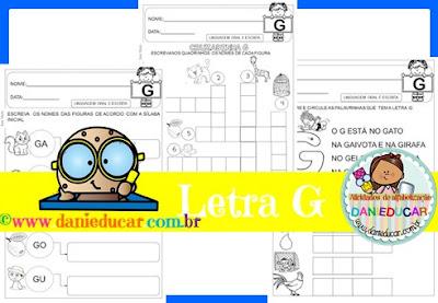 atividades do alfabeto, Atividades de alfabetização, Letra G,