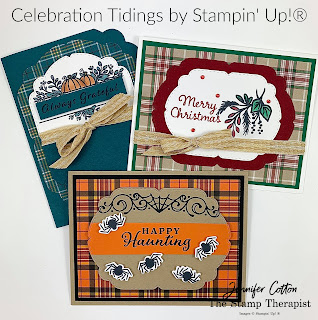 Three cards with Stampin' Up!'s Celebration Tidings Bundle/Plaid Tidings Suite.  Christmas, fall, and Halloween.  #StampinUp #StampTherapist