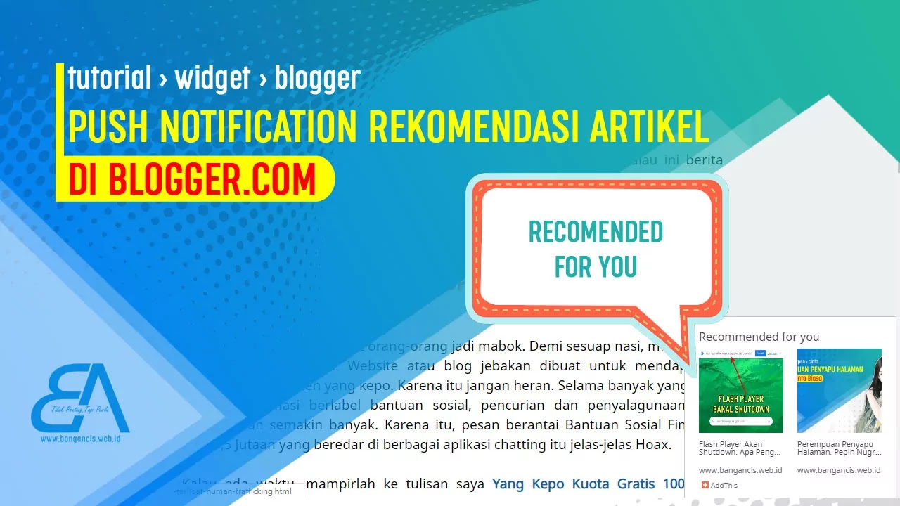 Push Notification Rekomendasi Artikel di Blogger