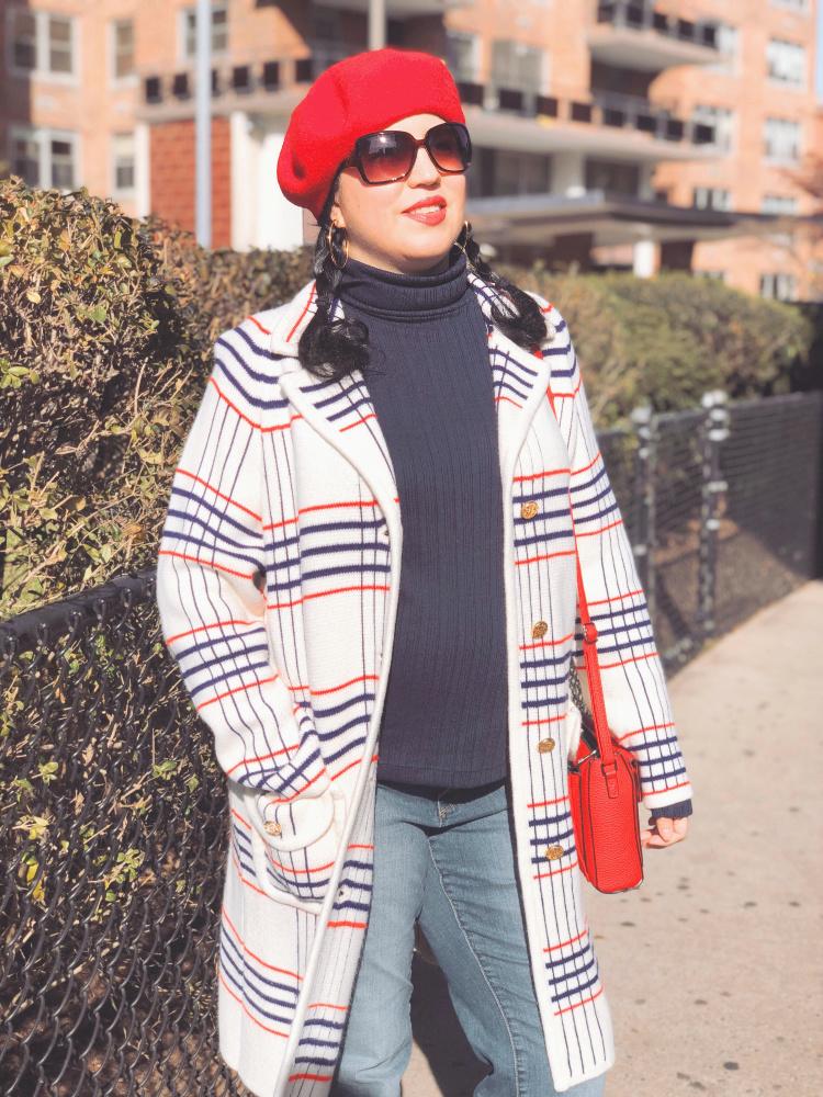 A Vintage Nerd, Vintage Blog, Vintage Blogger, Sixties Fashion, Vintage Inspired Fashion, Sixties Sweater Coat, Plus Size Vintage, 1960s Inspired Fashion, 1960s Beret, New York Vintage Blogger, Retro Inspired Fashion, Vintage Plaid Coat