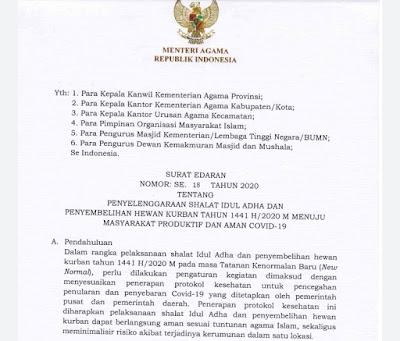 Kemenag Terbitkan Panduan Penyelenggaraan Salat Iduladha dan Penyembelihan Kurban Aman Covid-19