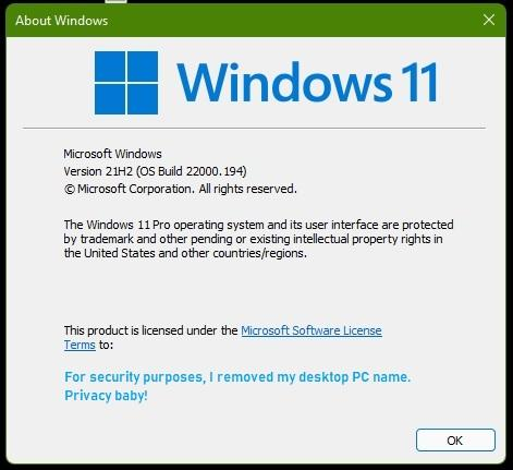 Microsoft Windows 11 Version 21H2 OS Build 22000.194