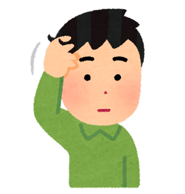 髪の毛に触る人のイラスト(男性)