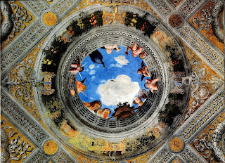 Part of the ceiling of the Camera degli Sposa in Mantua's Palazzo Ducale, decorated by Andrea Mantegna