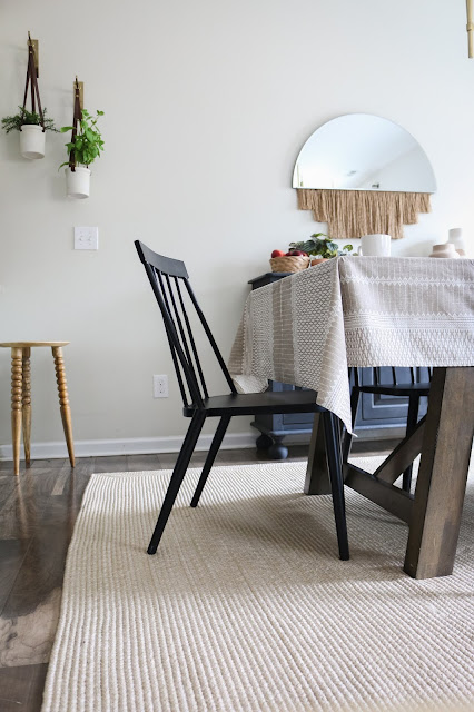 Use an outdoor rug in a dining room and other helpful budget and family friendly tips