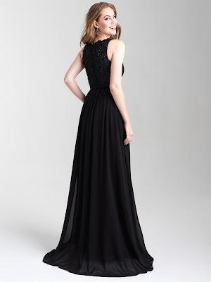V-neck Madison James Prom Dress Black color Back side