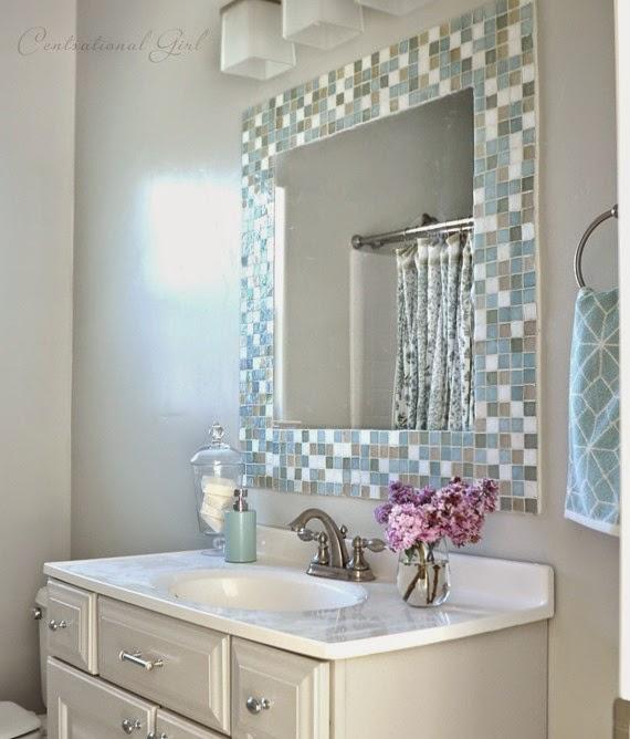 DIY Καθρέφτης μπάνιου διακοσμημένος με πλακάκια